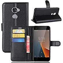 Nadakin Vodafone Smart V8 VFD710 Calidad Premium Cartera de Cuero con Carcasa de Teléfono Flip Funda con Soporte Magnetico de Cierre para Vodafone Smart V8 VFD710(Negro)