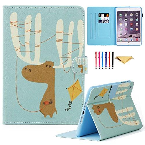 MOKASE iPad Mini Fall, Leder Smart Schutzhülle mit ausklappbarem Ständer Colorful Flip Wallet Schutzhülle für Apple iPad Mini 123(Liebenswürdig, Deer) - Ipad Mini Apple Fall 2