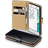 Sony Xperia XA Case, Terrapin Handy Leder Brieftasche Case Hülle mit Kartenfächer für Sony Xperia XA Hülle Schwarz mit Hellbraun Interior
