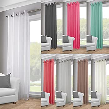 white top voile curtains net panel wide tab curtain muslin