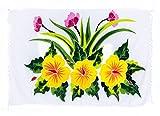 Sarong Pareo Wickelrock Strandtuch Tuch Wickeltuch Handtuch + Schnalle Blume weiß