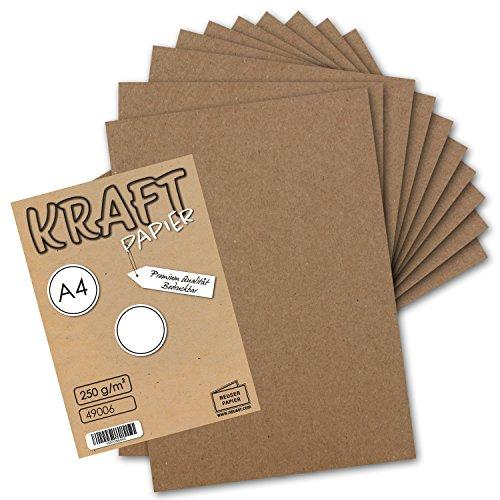 50x Vintage Kraftpapier - DIN A4 21 x 29,7 cm - 210 x 297 mm - 250 g/m² natur-braunes Recycling-Papier, 100% ökologisch Bastel-Karton Einzel-Karte I UmWelt by GUSTAV NEUSER® (Bedruckbare Karton)