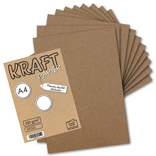 festes papier 50x Vintage Kraftpapier DIN A4 250 g/m² natur-braunes Recycling-Papier, 100% ökologisch Bastel-Karton Einzel-Karte I UmWelt by GUSTAV NEUSER