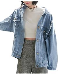 Yasong Women Girls Loose Fit Long Sleeve Vintage Denim Light Wash Faded Boyfriend Jean Jacket