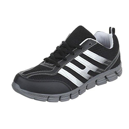 Scarpe da donna Sneaker piatto Sneakers low Ital-Design nero grigio EL20024-1