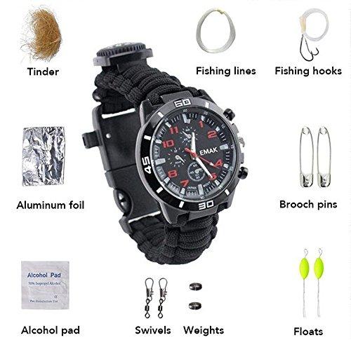 Survival Armband, Camping Watch mit multifunktionalen Outdoor Survival-Kits inkl. Paracord, Kompass, Pfeife, Leinenschneider, Fire Starter Scraper, Flint, Angeln Line, Angeln Haken