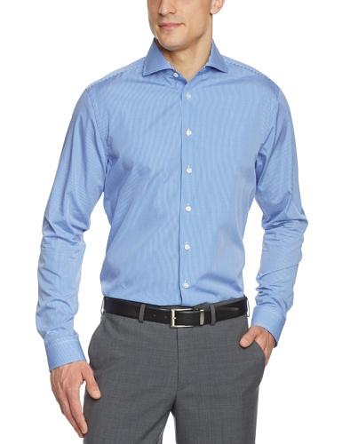 Arrow Herren Businesshemd Slim Fit, kariert 010053/12 Broadway NOS Shark 1/1 W102, Gr. 40, Blau (12) (Arrow Hemd)