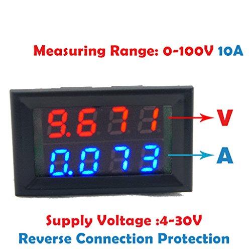 Dual-digital-messgeräte (jiamins Digital DC Voltmeter Amperemeter DC 100V 10A Spannung Strom Messgerät Netzteil rot blau LED Dual Display)