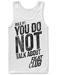 be4926ccfbe7f Fight Club Official Movie Tank Top Rule 1 You Do Not Talk About Mens White  Vest