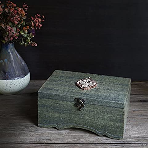 Store Indya Wooden Tea Chest Storage Box Exclusive Keepsake Accessories Craft Supplies Tools Teabags Holder Organiser with 6 Compartments Home Kitchen Decorative