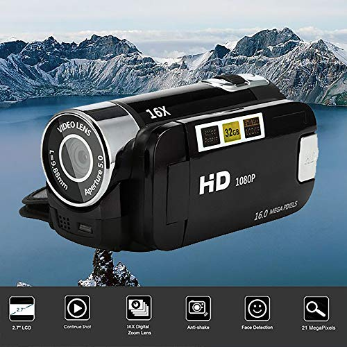 Gaddrt Video-Camcorder HD 1080P Digitale Handkamera mit 16-fachem Digitalzoom Kamera (Black)