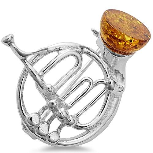 Bernstein Blass Horn Jagdhorn Waldhorn Musik Blasinstrument Anstecknadel Brosche Clip Schmucknadel 925 Silber Schmuck #1654