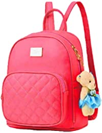 Da Eslingas® Leatherette Teddy Keychain Stylish and Trending High Quality Women Backpack for College Office Bag Girls Handbag Purse (Small Size)