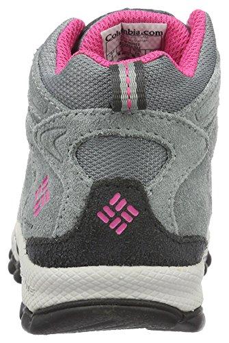 Columbia Childrens North Plains Mid Waterproof, Chaussures de Randonnée Hautes Fille Gris (Grey Ash, Ultra Pink 022)