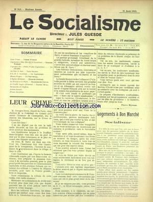 SOCIALISME (LE) [No 245] du 31/08/1912 - LEUR CRIME - LOGEMENTS A BON MARCHE ET SOCIALISME - A PROPOS DES PETITS PROFITS CAPITALISTES - L'EGLISE MILITANTE - LA FEMME ET LE PARTI - LE CONFLIT ANGLO-ALLEMAND par Collectif