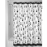 iDesign SophistiCat Duschvorhang | Vorhang für Badewanne und Dusche| 180,0 cm x 200,0 cm großer Badewannenvorhang mit Katzen-Print| Polyester schwarz/weiß