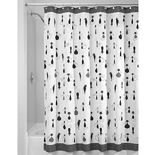 iDesign SophistiCat Duschvorhang | Vorhang für Badewanne und Dusche| 180,0 cm x 200,0 cm großer Badewannenvorhang mit Katzen-Print| Polyester schwarz/weiß -