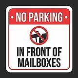No parking in front of Mailboxes stampa con simbolo nero, bianco e rosso plastica 12x 12Square Sign-1confezione di segni