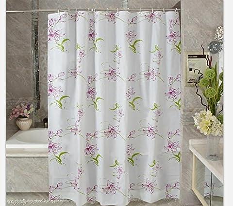 DU&LH Douche Rideau imperméable à l'eau Design douche Rideau Set moule résistant à la salle de bain Rideau décoration, 78 * 72 pouces (Lys pourpre)