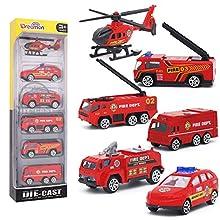 Dreamon Jouet Camion de Pompiers en Plastique et en métal avec 6pcs Mini Modèles Voitures Classiques pour Enfants de 3 4 5 Ans