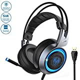 Somic G951 Gaming-Headset, Stereo Bass Surround Over-Ear-Kopfhörer mit Mikrofon und RGB LED-Lichtern, Vibration Bass, kompatibel mit PC Computerspiel, PS4 und Laptop, USB-Stecker, 3 Lichtfarbwechsel