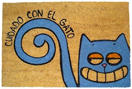Felpudos Gatos con Diseño Cuidado con El Gato, Coco, 60 x 40 cm