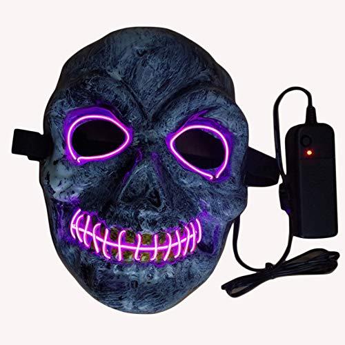 ZHANGDONGLAI EL Flash Maske Horror Gesicht Abdeckung Halloween Requisiten Spukhaus Dekoration Kostümfest Requisiten Maske Neuheit Show Nachtlicht (Color : Pink)
