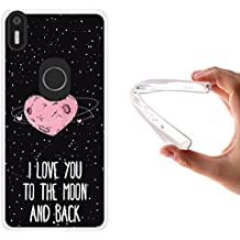Funda bq Aquaris X5 Plus, WoowCase [ bq Aquaris X5 Plus ] Funda Silicona Gel Flexible Corazón Frase Amor - I Love You To The Moon And Back, Carcasa Case TPU Silicona