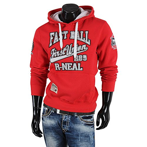 R-NEAL Herren Kapuzen Pullover Rot
