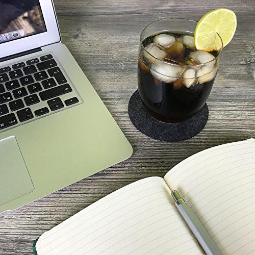 flamaroc Filzuntersetzer rund – 10er Premium-Set mit Box anthrazit grau, 10 cm Durchmesser und 5 mm Materialstärke, Stylishe Glasuntersetzer in dunkelgrau für Glas, Getränke, Gläser, Tassen