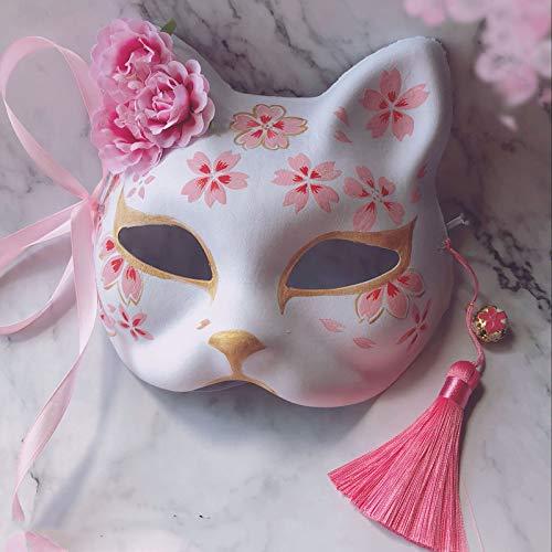 e Fuchs Maske Handbemalt Katze Buch Der Freunde Pulp Fox Halbes Gesicht Maske Halloween Cosplay Tier Maske Party ()