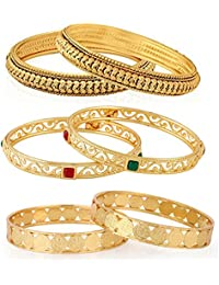 Jewels Galaxy Limited Edition Delicate Design Red-Green Ruby & Plane Gold Plated Bangle Set Combo For Women/Girls-Pair...
