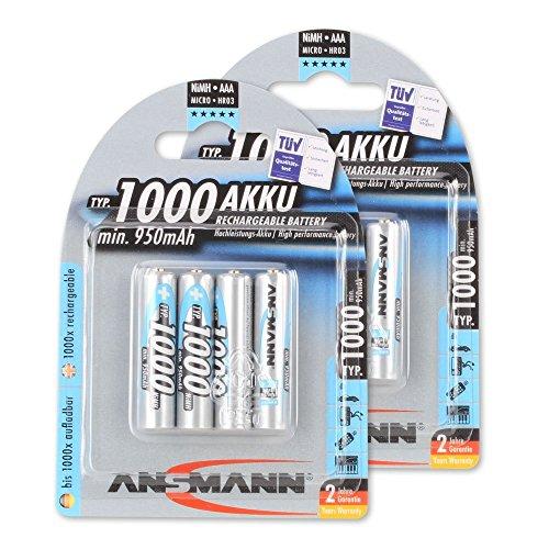 ANSMANN wiederaufladbar Akku Batterie Micro AAA Typ 1000mAh NiMH hochkapazitiv Hohe Kapazität ohne Memory-Effekt Profi Digital Kamera-Akkubatterie 8er - Triple Nickel