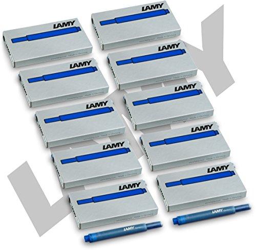 Lamy t10 lot de 50 cartouches d'encre-bleu (10 x 5 cartouches d'encre pour stylo plume