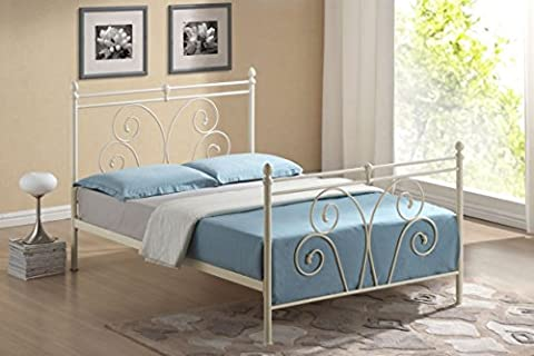 New 4ft6 Double Classic Traditional Swirl Ivory Metal Bed
