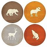 CoasterStone as9095Absorbente Posavasos, 4–1/4-inch, Adirondack Oso Alce Ciervo Lobo,...