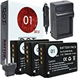 3x DOT-01 Brand Fujifilm X-A3 Batteries And Charger For Fujifilm X-A3 Mirrorless Camera And Fujifilm XA3 Battery And Charger Bundle For Fujifilm NPW126 NP-W126