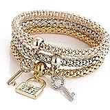 BRACLTS bracelet 3 Pcs Ensemble De Mode Mosaïque Cubique Zircone Serrure À Clé Élastique Charme Bracelets pour Les Femmes Or Couleur Creative Popcorn Chaîne De Maïs Bijoux