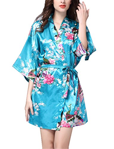 BELLOO Ladies Silk Satin Kimono Robe Short Dressing Gown Peacock and Blossom Style - 51Qpe8xAyqL - BELLOO Ladies Silk Satin Kimono Robe Short Dressing Gown Peacock and Blossom Style