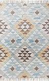 TOM TAILOR Vintage Kelim Teppich, Ethno Look, 80% Schurwolle & 20% Baumwolle, Farbe:Bunt, Größe:65 x 135 cm