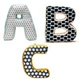 Kids Concept ABC Buchstabenkissen 3er-Set gefüllt Baumwolle 25 cm Stoff NEO, Mehrfarbig