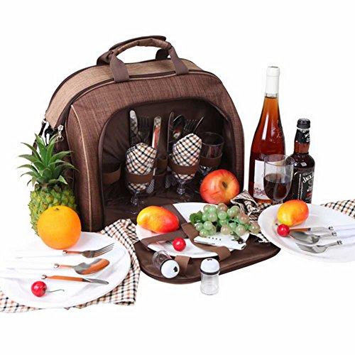 Oops Style Picknickkorb Rucksack   Stylische All-in-One Tragbare Picknick Tasche für 4Personen mit Besteck Set  Kühltasche für Camping, Wandern, Grillabende Tote Bag-14.96 x 8.46 x 11.81 inches - Zwei-ton-reißverschluss Tote