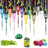 DIAOPROTECT Rotuladores acrílicos, rotuladores acrílicos para pintar a prueba de agua para arte rupestre, cerámica, madera, lienzo, diseño de tazas, rotuladores acrílicos - 12 colores
