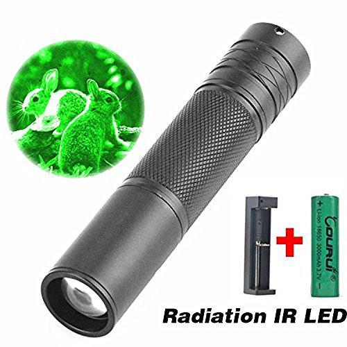 Taschenlampen,OHQ 5W 850nm Infrarot IR Taschenlampe Zoomable für Nachtsicht Scope(Schwarz)