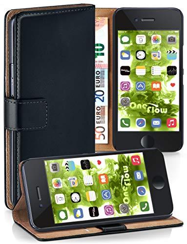 MoEx® Booklet mit Flip Funktion [360 Grad Voll-Schutz] für iPhone 6S / iPhone 6 | Geldfach und Kartenfach + Stand-Funktion und Magnet-Verschluss, Schwarz
