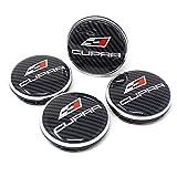 Finest Folia 4X Nabendeckel Cupra 55mm ABS Kunststoff OEM Qualität Gel Emblem Aluminum Deckel (Carbon Schwarz, Aluminium Poliert)