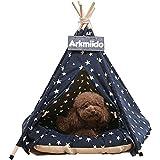 Arkmiido Tienda para mascotas con cama, Casa de lona para perros y gatos, Tipi para mascotas con cojín de 60 cm, Bajo techo, en exteriors.