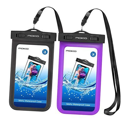 MoKo wasserdichte Hülle Tasche Beachbag mit Halsband und Armband IPX8 Schutzhülle für iPhone 7/5S/5SE/6/6s/7 Plus, Samsung Galaxy S10/S10 Plus/S10e/S5/S6/S7/J5/A5, 4-5.7 Zoll Handy, Schwarz/Violett - Armbänder Und Halsband