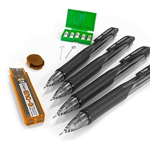 4 x Pilot Progrex Mechanical Pencil 0.5mm + 12 Pilot ENO-G 0.5mm HB Leads and 5 x Eraser Refills