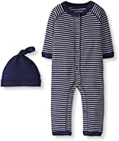 Moon and Back by Hanna Andersson Snap Front One Piece Coverall with Cap Set Unisex bebé